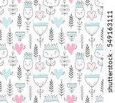 romantic seamless vector floral ... | Shutterstock .eps vector #549163111