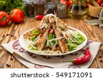 healthy grilled chicken caesar... | Shutterstock . vector #549171091