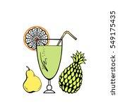 fruit cocktail vector. fresh... | Shutterstock .eps vector #549175435