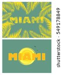 yellow t shirt print with miami ... | Shutterstock .eps vector #549178849