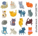 Stock vector funny vector set of cats collection of cute characters 549188794