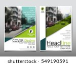 blue and green flyer cover... | Shutterstock .eps vector #549190591