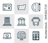 set of 9 school icons. includes ... | Shutterstock . vector #549201715