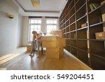 full length of stressed woman... | Shutterstock . vector #549204451