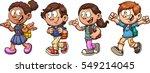 kids walking and talking back... | Shutterstock .eps vector #549214045