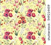 watercolor botanical spring... | Shutterstock . vector #549214459