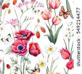 watercolor botanical spring... | Shutterstock . vector #549214477