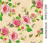 blooming english roses seamless ... | Shutterstock .eps vector #549217285