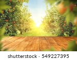 wooden table place of free... | Shutterstock . vector #549227395
