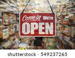 a business sign that says 'come ... | Shutterstock . vector #549237265
