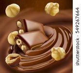 chocolate melted in cream on... | Shutterstock . vector #549267664