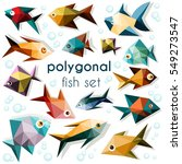 bright polygonal fish set ... | Shutterstock .eps vector #549273547