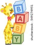 cute giraffe with alphabet baby ...   Shutterstock .eps vector #549274951