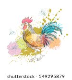 hand drawn cock with watercolor ... | Shutterstock .eps vector #549295879