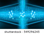 future technology  blue cyber... | Shutterstock .eps vector #549296245