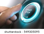 Small photo of Car start stop system with finger pressing the button, horizontal image
