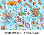 hand drawn flower seamless... | Shutterstock . vector #549306331
