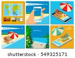 vacation with mobile phone...   Shutterstock .eps vector #549325171