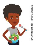 african woman eating healthy... | Shutterstock .eps vector #549330031