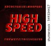 speed alphabet vector font.... | Shutterstock .eps vector #549334417