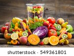 fresh fruits and vegetables in... | Shutterstock . vector #549361801