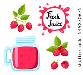 juice with raspberry in a glass ... | Shutterstock .eps vector #549370675