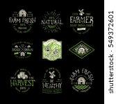 set of badge for farmers market ... | Shutterstock .eps vector #549372601