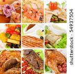 Food set of different tasty dishes - stock photo