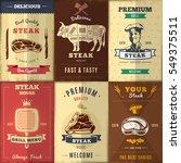 vintage steak house posters set ... | Shutterstock .eps vector #549375511