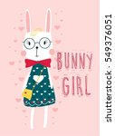 bunny girl with heart vector... | Shutterstock .eps vector #549376051