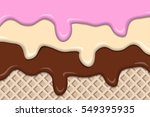 different ice creams with wafer ... | Shutterstock .eps vector #549395935