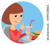girl with fast food in his... | Shutterstock .eps vector #549418861