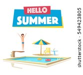 swimming pool with a diving... | Shutterstock .eps vector #549423805