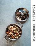overhead of mini copper pot of...