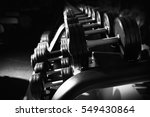 modern equipment in gym. black... | Shutterstock . vector #549430864