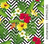 tropical flowers and leaves on... | Shutterstock .eps vector #549431281