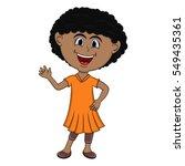 beautiful girl waving her hand... | Shutterstock .eps vector #549435361