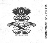 pirate skull with mustache and... | Shutterstock .eps vector #549441145