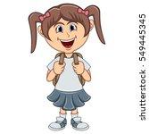 little girl with backpack... | Shutterstock .eps vector #549445345