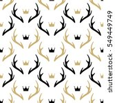 seamless pattern with deer... | Shutterstock .eps vector #549449749