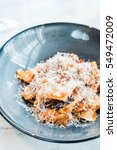 rabbit pappardelle pasta with... | Shutterstock . vector #549472009