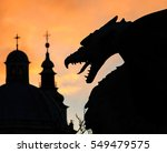 Silhouette Of Dragon On The...