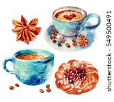 watercolor hand drawn coffee... | Shutterstock . vector #549500491