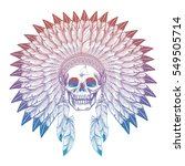 hand drawn colorful skull in... | Shutterstock .eps vector #549505714