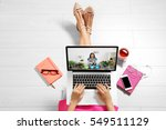 video call and chat concept.... | Shutterstock . vector #549511129