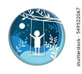 paper art carve to children at... | Shutterstock .eps vector #549522067
