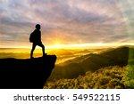 courage traveler man on top of...   Shutterstock . vector #549522115
