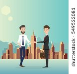 businessman handshake with city ... | Shutterstock .eps vector #549532081