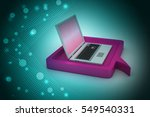 3d illustration of laptop with... | Shutterstock . vector #549540331