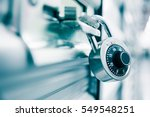combination lock on a self... | Shutterstock . vector #549548251